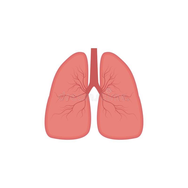 Icona dei polmoni, stile piano Organi interni dell'elemento umano di progettazione, logo Anatomia, concetto della medicina Sanità illustrazione vettoriale