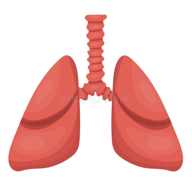 Icona dei polmoni, stile piano Organi interni dell'elemento umano di progettazione, logo Anatomia, concetto della medicina Sanit? illustrazione vettoriale