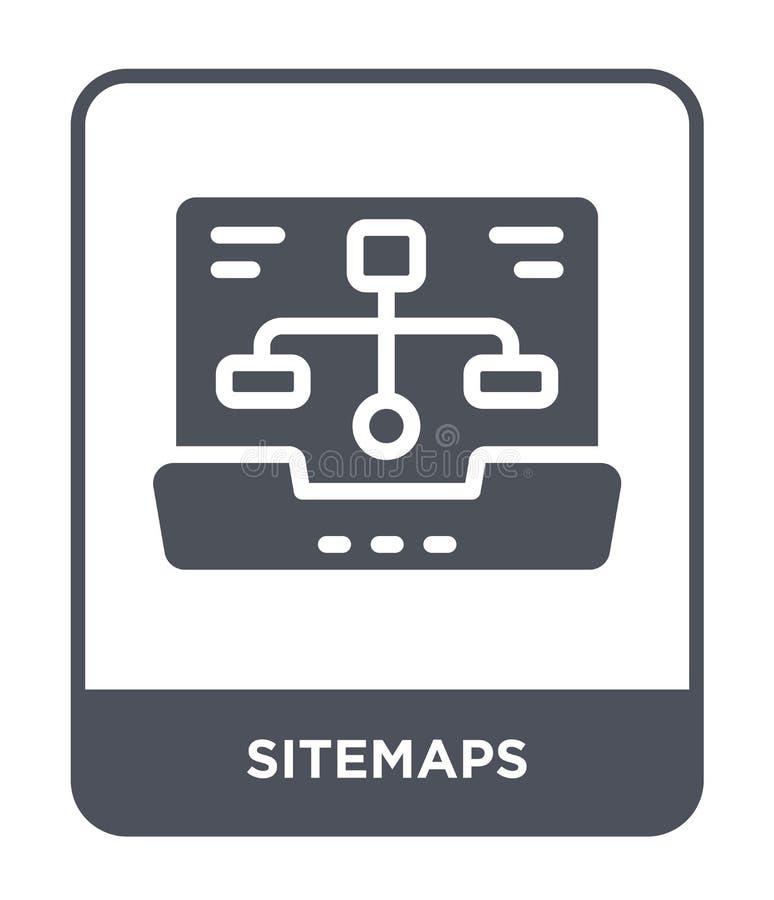 icona dei sitemaps nello stile d'avanguardia di progettazione icona dei sitemaps isolata su fondo bianco piano semplice e moderno illustrazione vettoriale