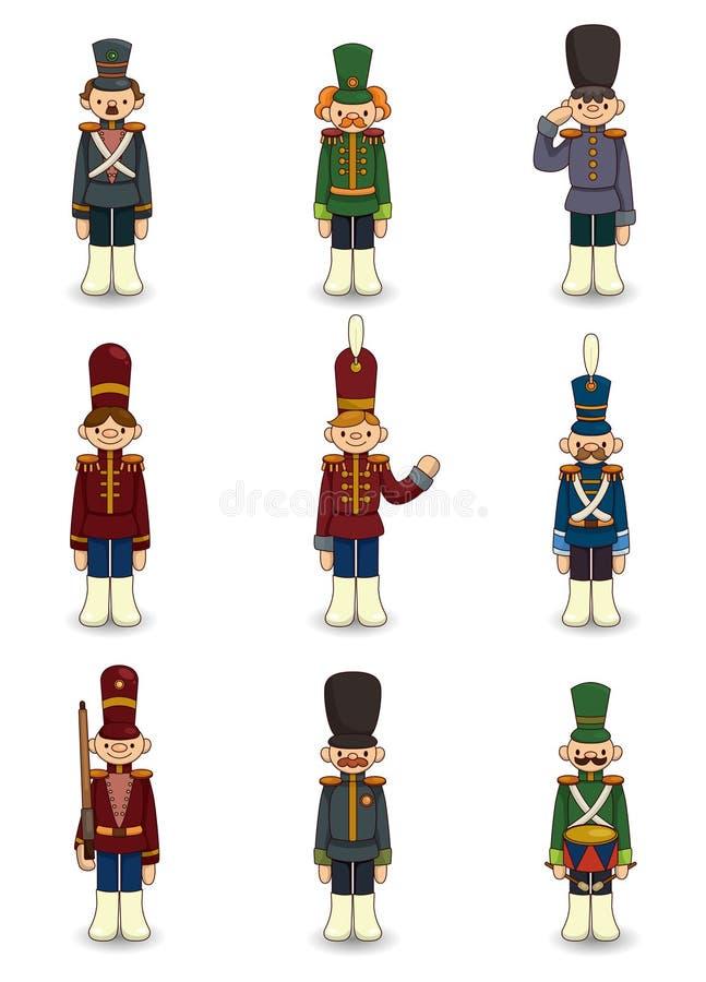 Icona dei soldati di giocattolo del fumetto illustrazione vettoriale