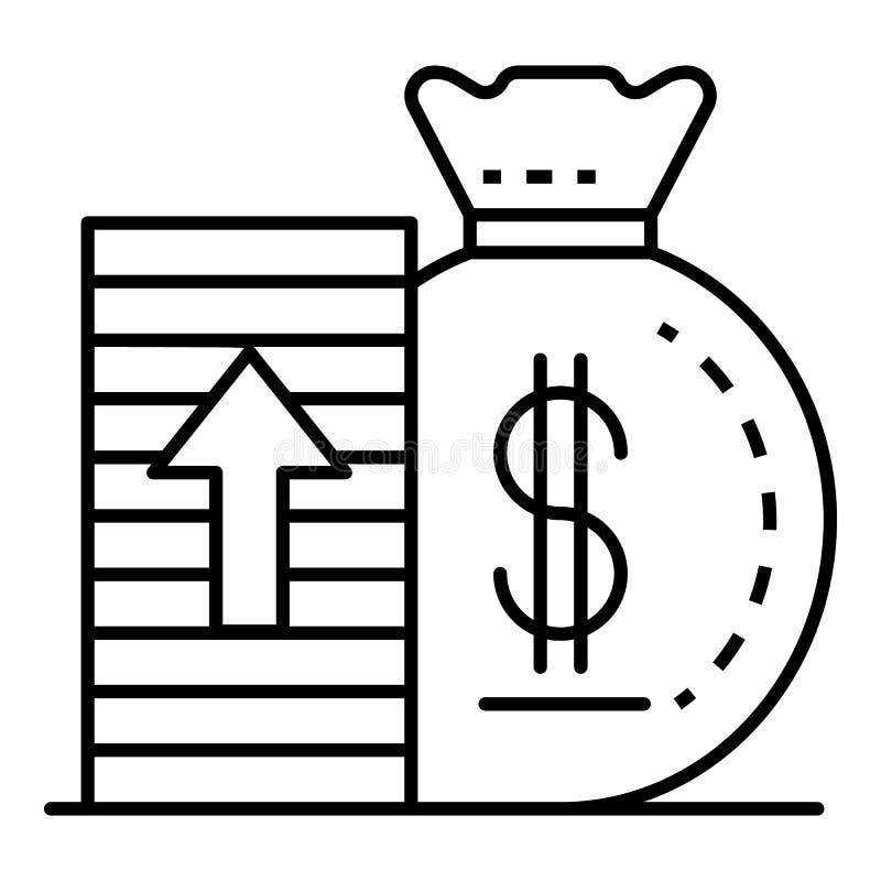 Icona dei soldi di aumento, stile del profilo illustrazione vettoriale