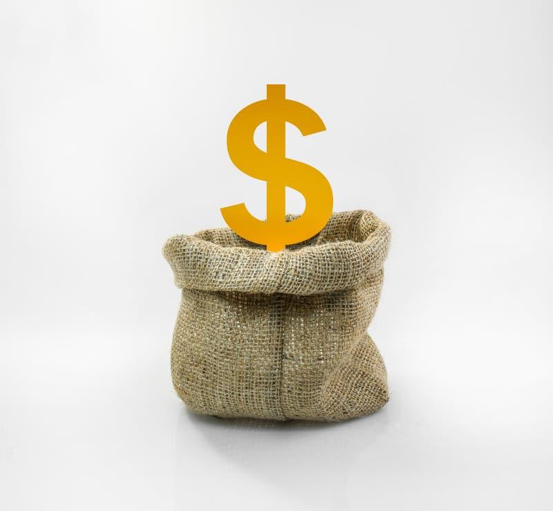 Icona dei soldi nella borsa del sacco su fondo bianco immagini stock