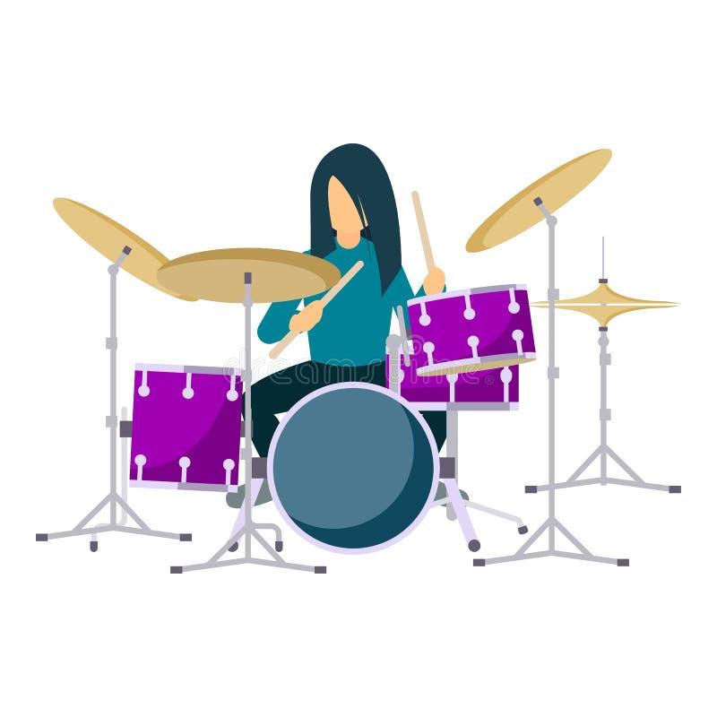 Icona dei tamburi della roccia del gioco, stile piano illustrazione vettoriale