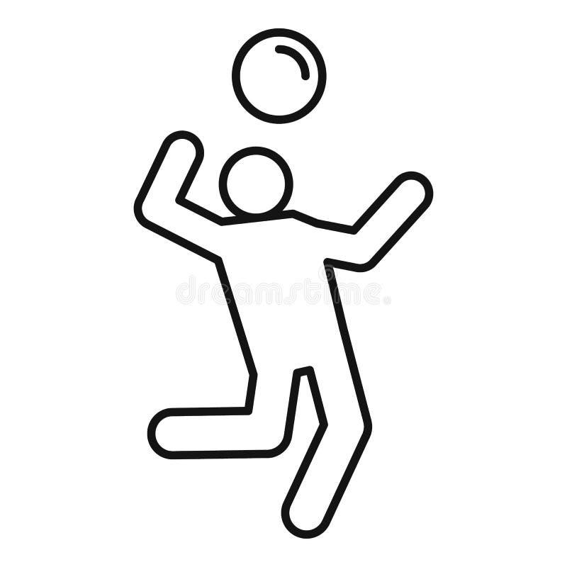Icona del atack del giocatore di pallavolo, stile del profilo illustrazione di stock
