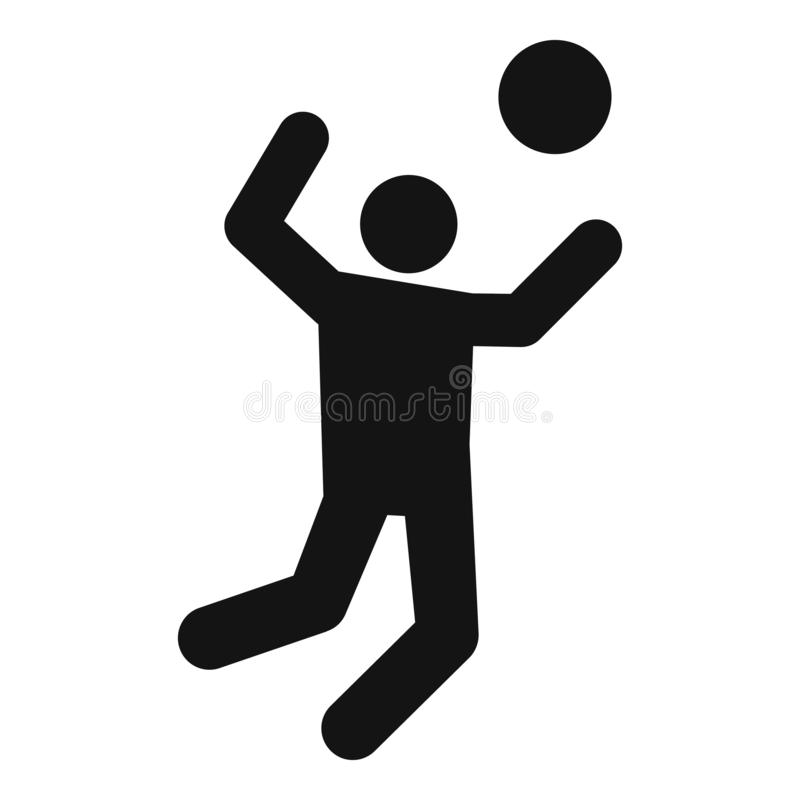 Icona del atack del giocatore di pallavolo, stile semplice royalty illustrazione gratis