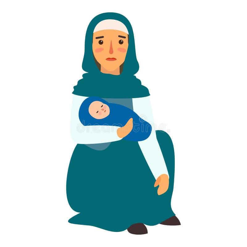 Icona del bambino della madre del rifugiato, stile piano illustrazione vettoriale