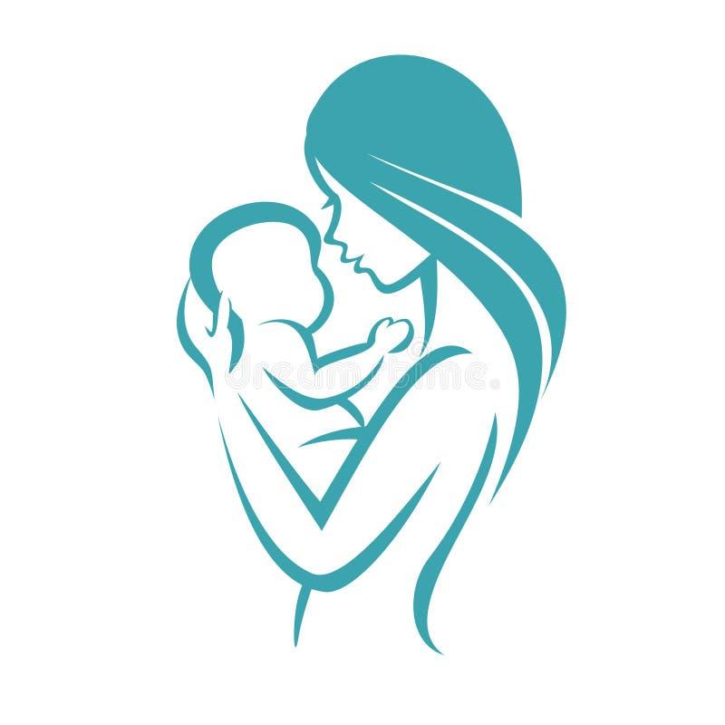Icona del bambino e della madre illustrazione vettoriale