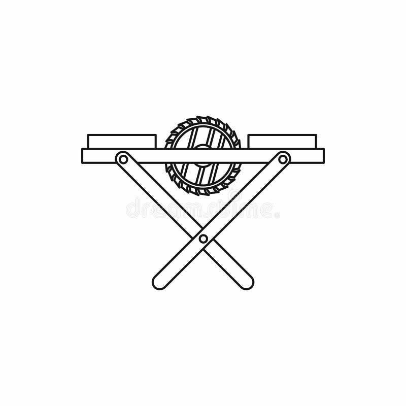 Icona del banco della sega elettrica, stile del profilo illustrazione di stock