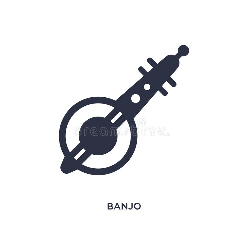 icona del banjo su fondo bianco Illustrazione semplice dell'elemento dal concetto dell'Africa royalty illustrazione gratis