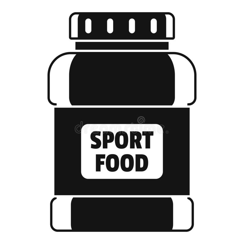 Icona del barattolo dell'alimento di sport, stile semplice illustrazione vettoriale
