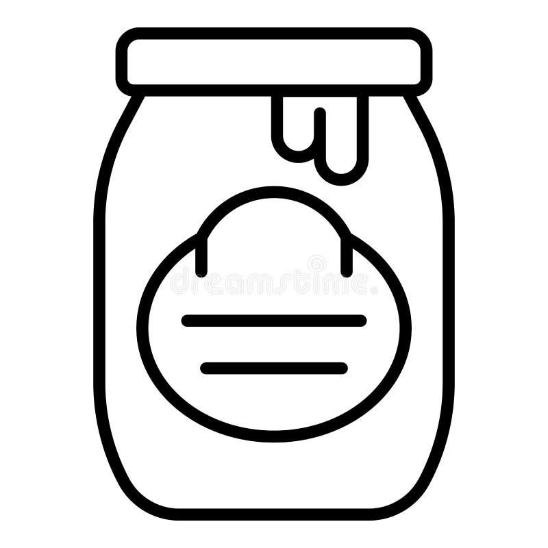 Icona del barattolo del miele, stile del profilo illustrazione vettoriale