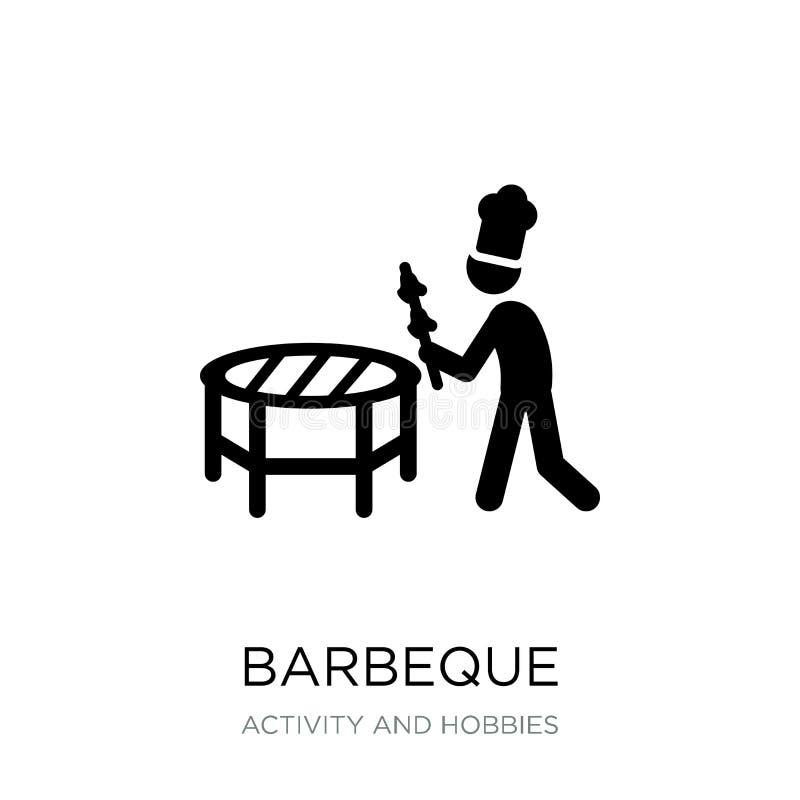 icona del barbecue nello stile d'avanguardia di progettazione icona del barbecue isolata su fondo bianco piano semplice e moderno royalty illustrazione gratis
