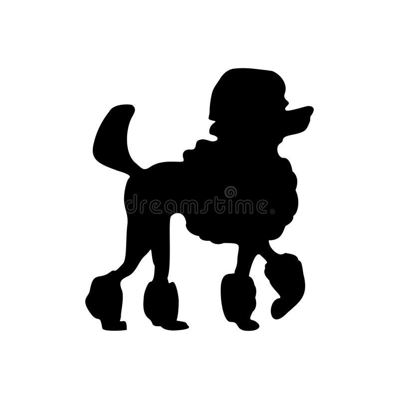 Icona del barboncino Siluetta di condizione del cane Illustrazione di vettore isolata su bianco royalty illustrazione gratis