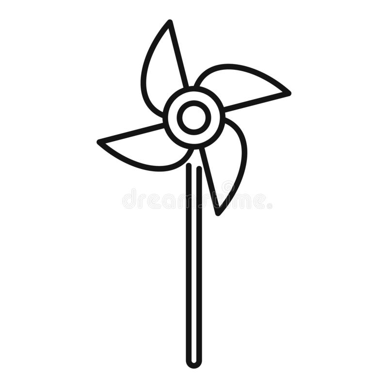 Icona del bastone dell'elica, stile del profilo illustrazione vettoriale