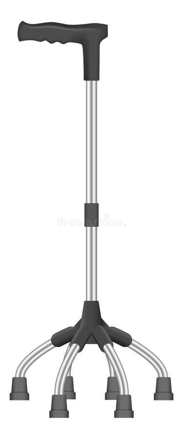 Icona del bastone della passeggiata del quadrupede, stile realistico illustrazione di stock