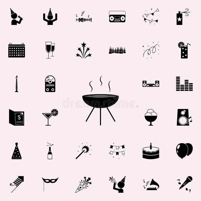 Icona del Bbq Faccia festa l'insieme universale delle icone per il web ed il cellulare royalty illustrazione gratis