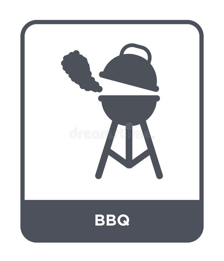icona del bbq nello stile d'avanguardia di progettazione icona del bbq isolata su fondo bianco simbolo piano semplice e moderno d illustrazione vettoriale