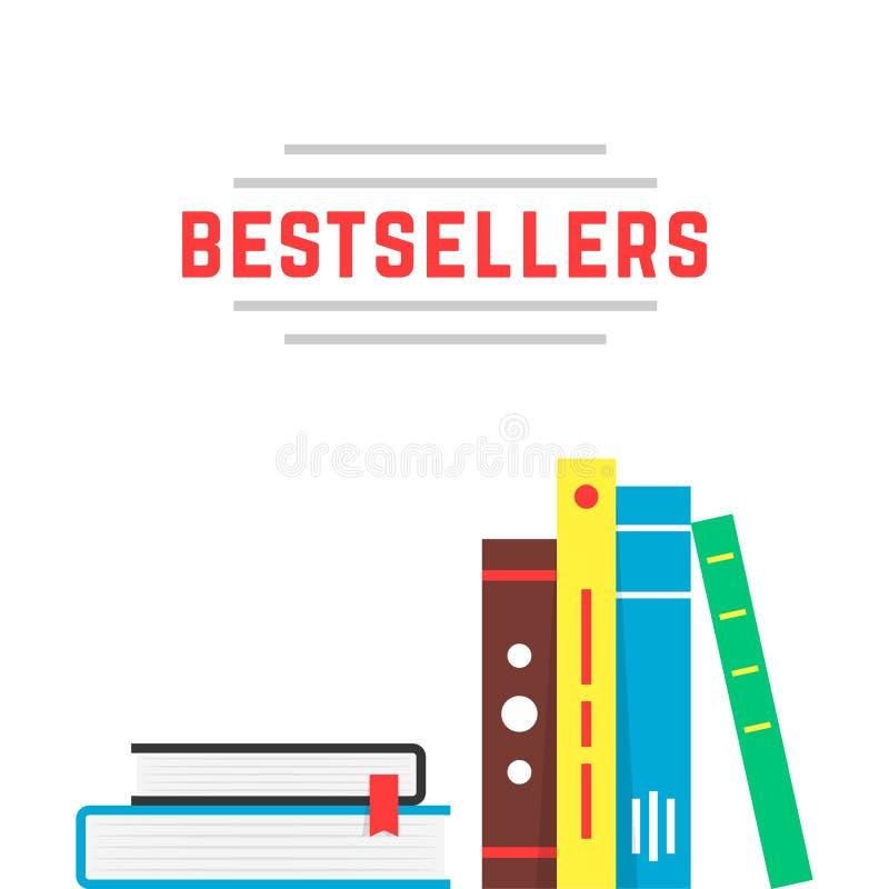Icona del bestseller con lo scaffale per libri illustrazione di stock