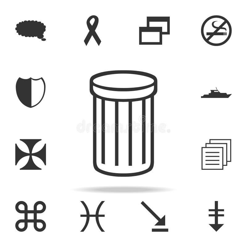 Icona del bidone della spazzatura Insieme dettagliato delle icone di web Progettazione grafica di qualità premio Una delle icone  illustrazione vettoriale