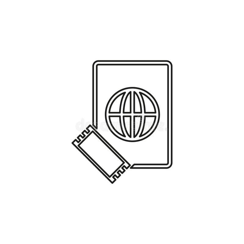 Icona del biglietto e del passaporto - passaggio di volo royalty illustrazione gratis