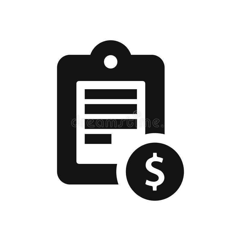 Icona del blocco note con l'illustrazione di vettore del simbolo di dollaro isolata su fondo bianco illustrazione vettoriale