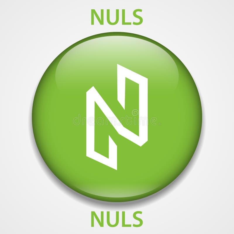 Icona del blockchain di cryptocurrency della moneta di Nuls Soldi virtuali di Internet e elettronici o simbolo del cryptocoin, lo illustrazione di stock