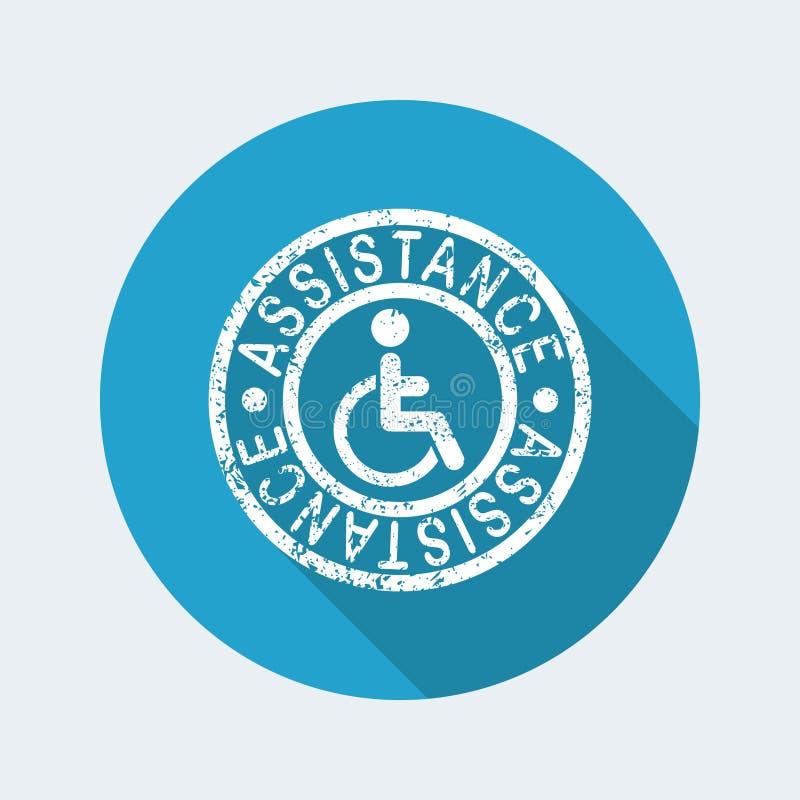 Icona del bollo di assistenza di handicap illustrazione vettoriale