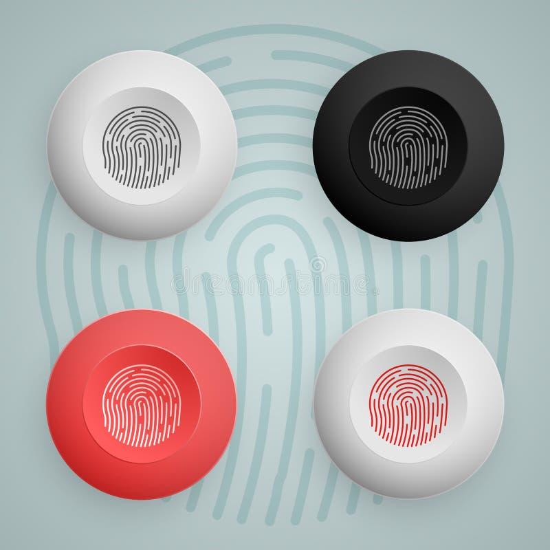 Icona del bottone dell'impronta digitale multicolored Illustrazione di vettore royalty illustrazione gratis