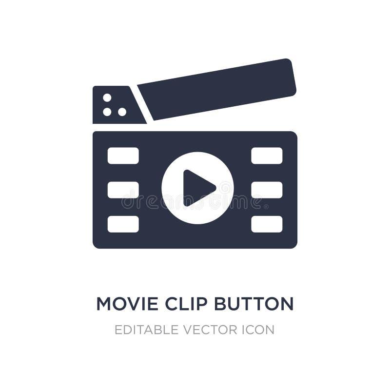 icona del bottone della clip di film su fondo bianco Illustrazione semplice dell'elemento dal concetto di multimedia illustrazione vettoriale