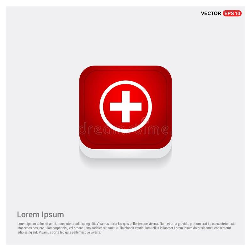 icona del bottone del più dell'ospedale illustrazione di stock