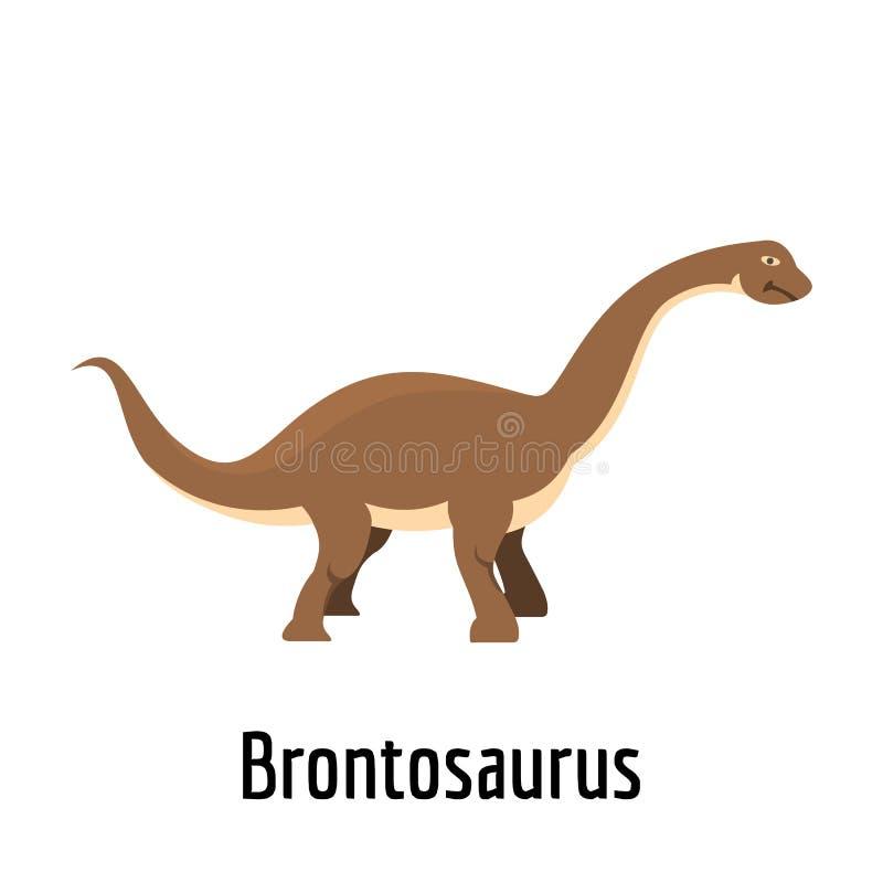 Icona del brontosauro, stile piano illustrazione vettoriale