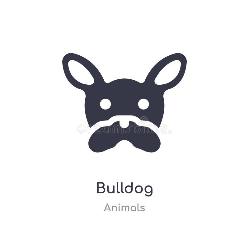 Icona del bulldog illustrazione isolata di vettore dell'icona del bulldog dalla raccolta degli animali editabile canti il simbolo illustrazione di stock