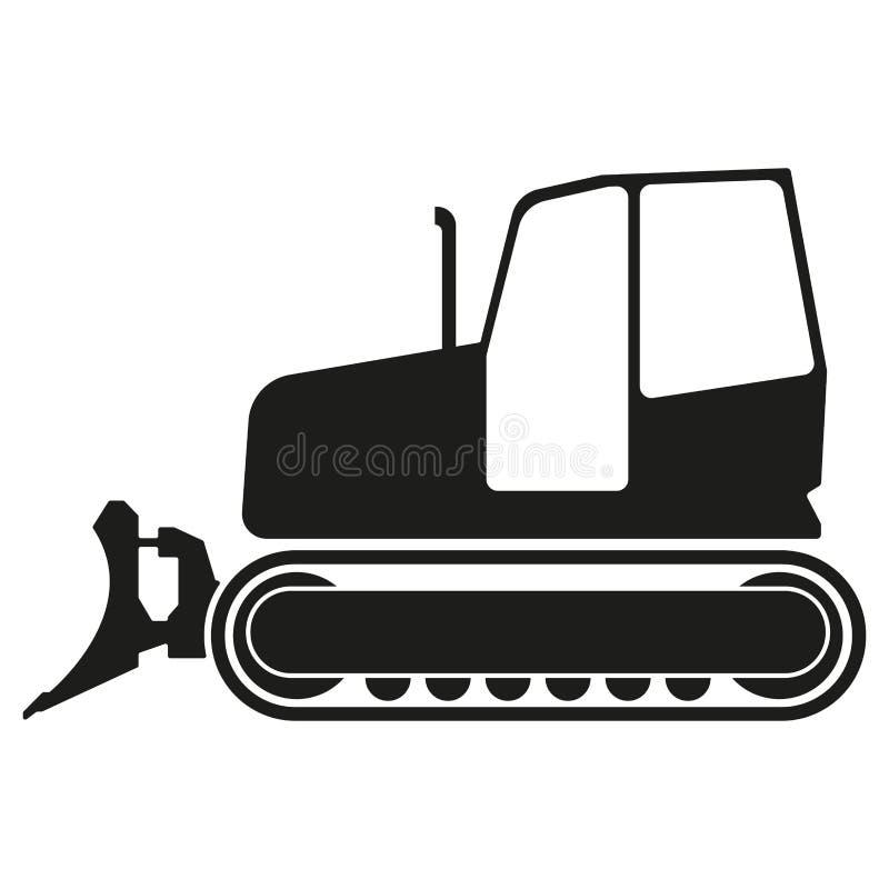 Icona del bulldozer o del trattore isolata su fondo bianco Siluetta del selezionatore del trattore Illustrazione di vettore illustrazione di stock