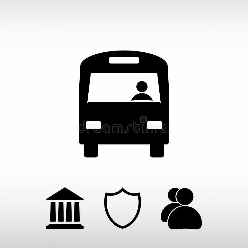 Icona del bus, illustrazione di vettore Stile piano di progettazione fotografia stock libera da diritti
