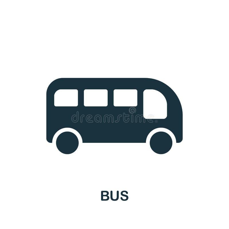 Icona del bus nel vettore Progettazione piana dell'icona di stile Illustrazione di vettore dell'icona del bus pittogramma isolato illustrazione di stock