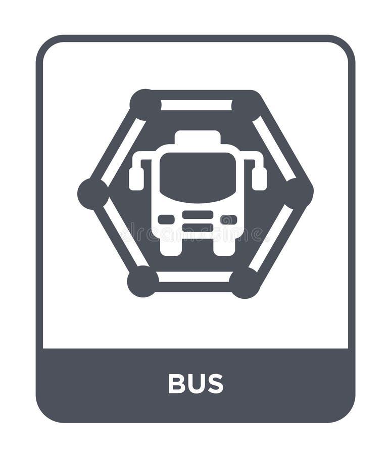 icona del bus nello stile d'avanguardia di progettazione Icona del bus isolata su fondo bianco simbolo piano semplice e moderno d royalty illustrazione gratis