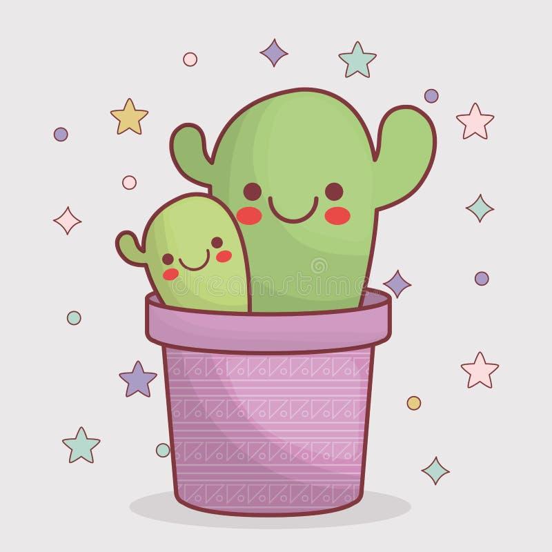 Icona del cactus di Kawaii illustrazione di stock
