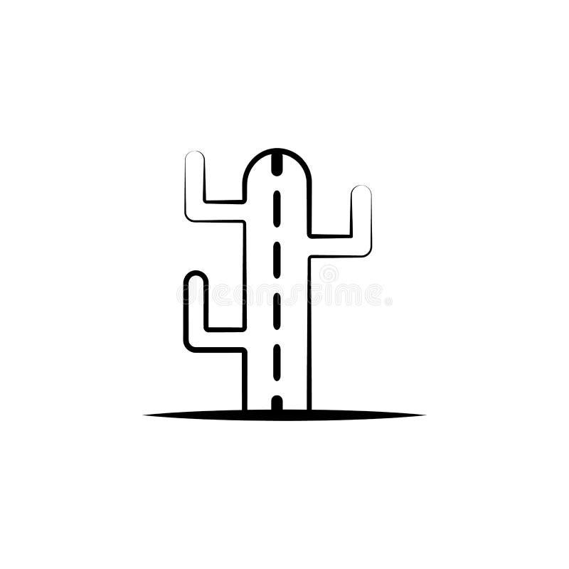 Icona del cactus Elemento dell'icona di dia de muertos per i apps mobili di web e di concetto L'icona disegnata a mano del cactus illustrazione di stock