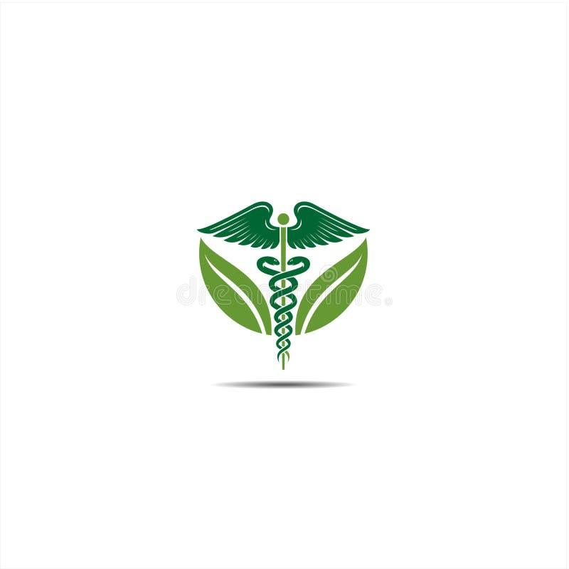 Icona del caduceo, icona di logo del caduceo per le illustrazioni concettuali di vettore di sanità medica royalty illustrazione gratis