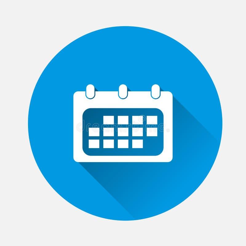 Icona del calendario di vettore su fondo blu Spirito piano del calendario di immagine illustrazione di stock