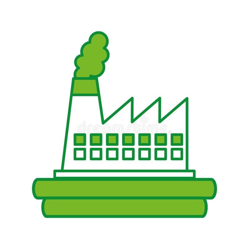 Icona del camino di industria della fabbrica illustrazione di stock