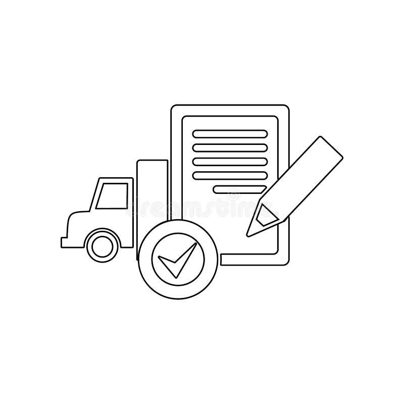 icona del camion del controllo del documento Elemento di logistico per il concetto e l'icona mobili dei apps di web Profilo, line illustrazione vettoriale