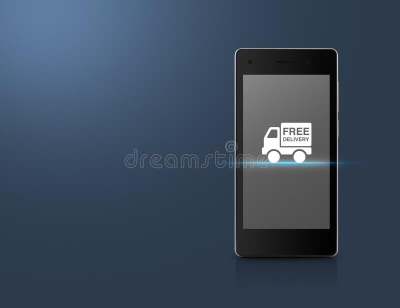 Icona del camion di consegna gratuita sullo schermo moderno dello Smart Phone sopra luce royalty illustrazione gratis