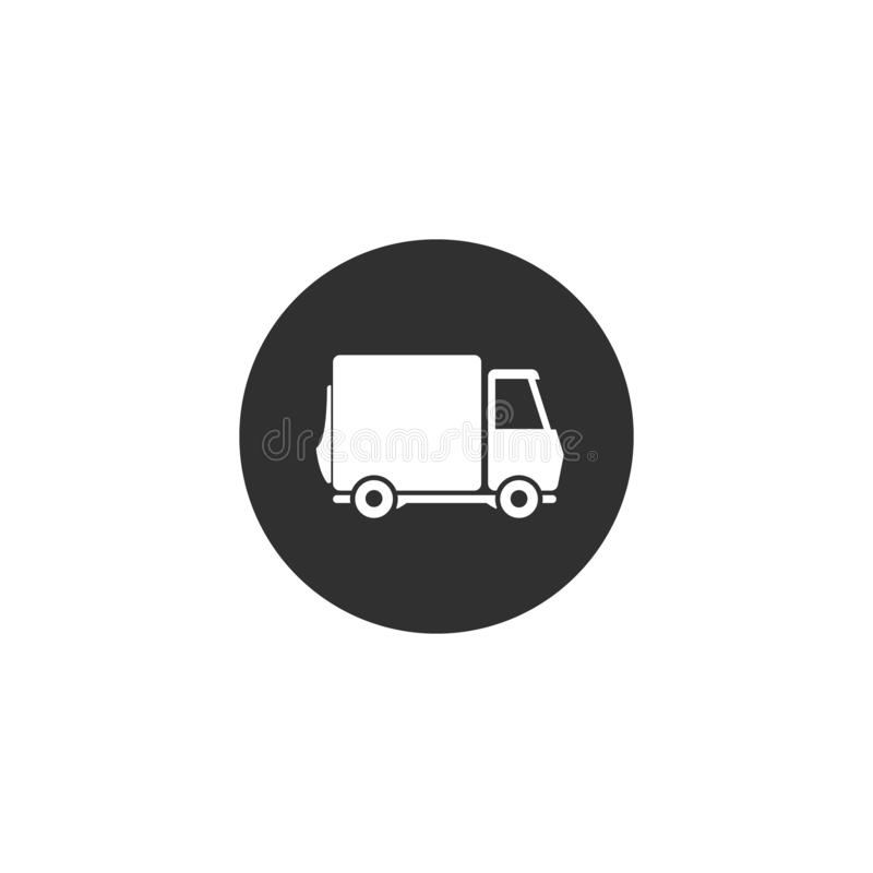 Icona del camion di consegna simbolo piano di web di vettore illustrazione di stock