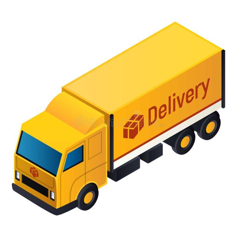 Icona del camion di consegna, stile isometrico illustrazione vettoriale