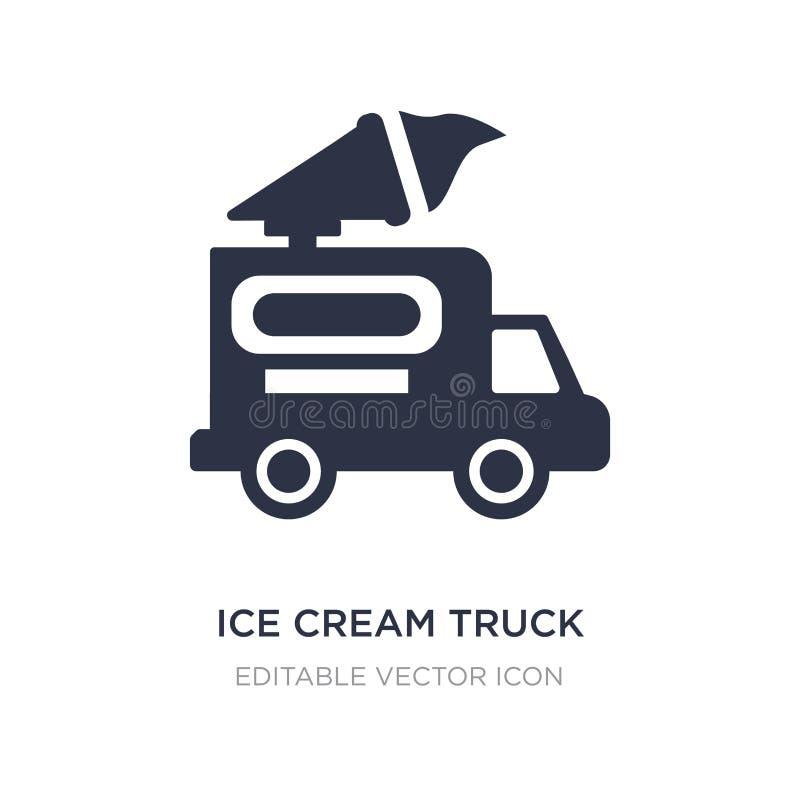 icona del camion del gelato su fondo bianco Illustrazione semplice dell'elemento dal concetto dell'alimento illustrazione vettoriale