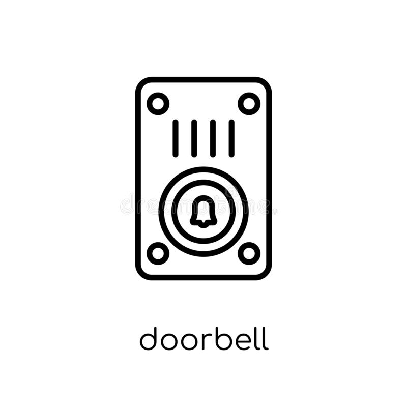 Icona del campanello Icona lineare piana moderna d'avanguardia del campanello di vettore sopra illustrazione di stock