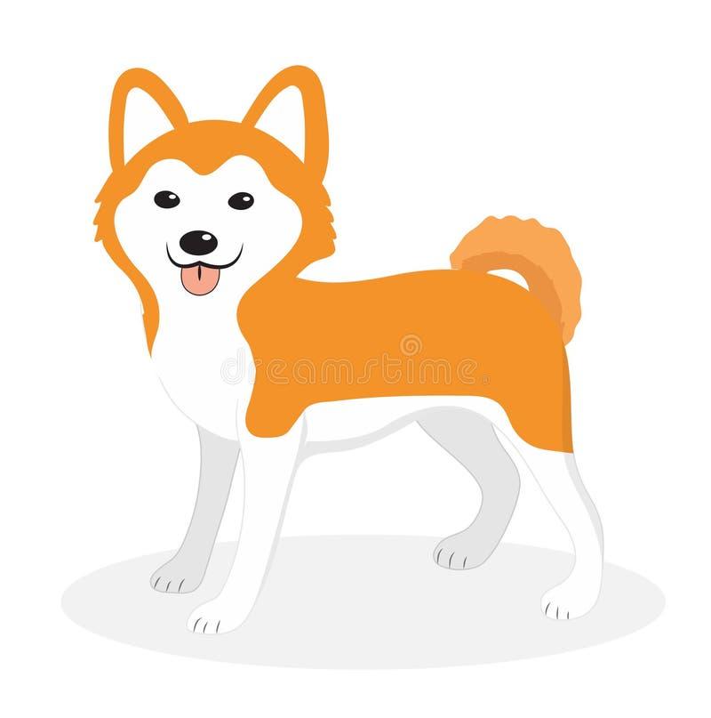 Icona del cane della razza di Akita Inu, piana, stile del fumetto Cucciolo sveglio isolato su priorità bassa bianca Illustrazione illustrazione di stock