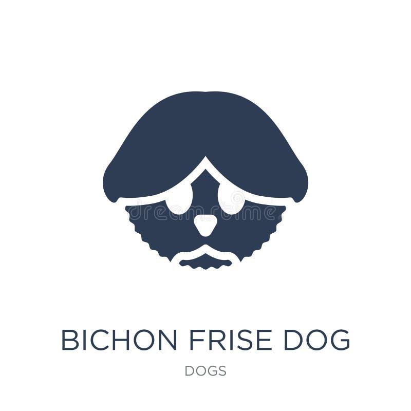 Icona del cane di Bichon Frise Icona piana d'avanguardia del cane di Bichon Frise di vettore illustrazione di stock