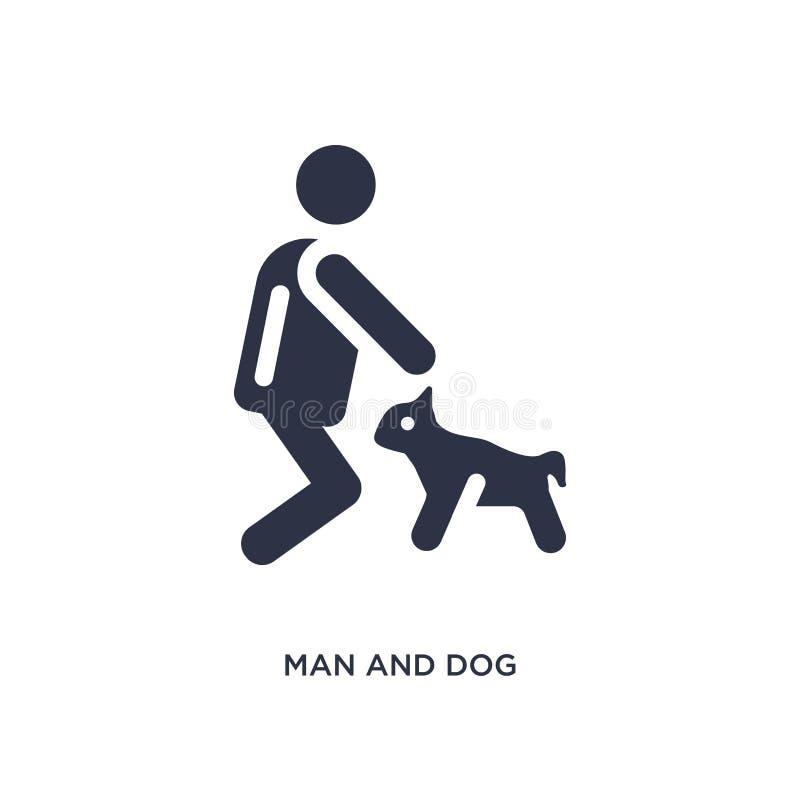 icona del cane e dell'uomo su fondo bianco Illustrazione semplice dell'elemento dal concetto di comportamento illustrazione di stock